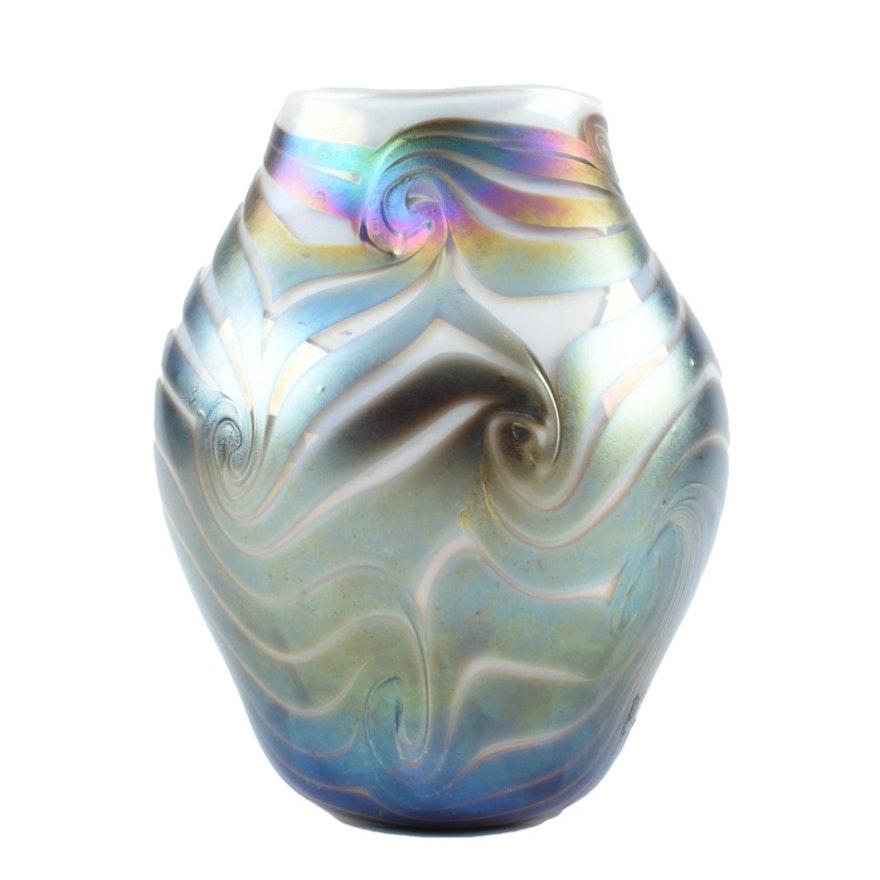 Hand-Blown Art Glass Vase by John Barber