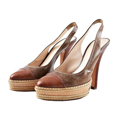 Prada Tri-Tone Brown Leather Platform Heels