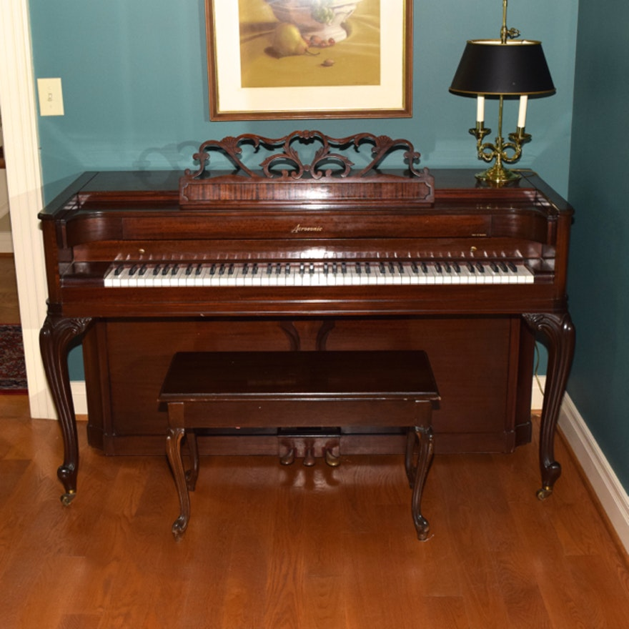 baldwin acrosonic spinet piano bench and sheet music ebth. Black Bedroom Furniture Sets. Home Design Ideas