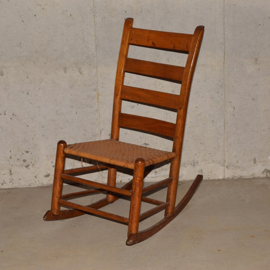 Antique Pine Ladder Back Rocking Chair With Rush Seat