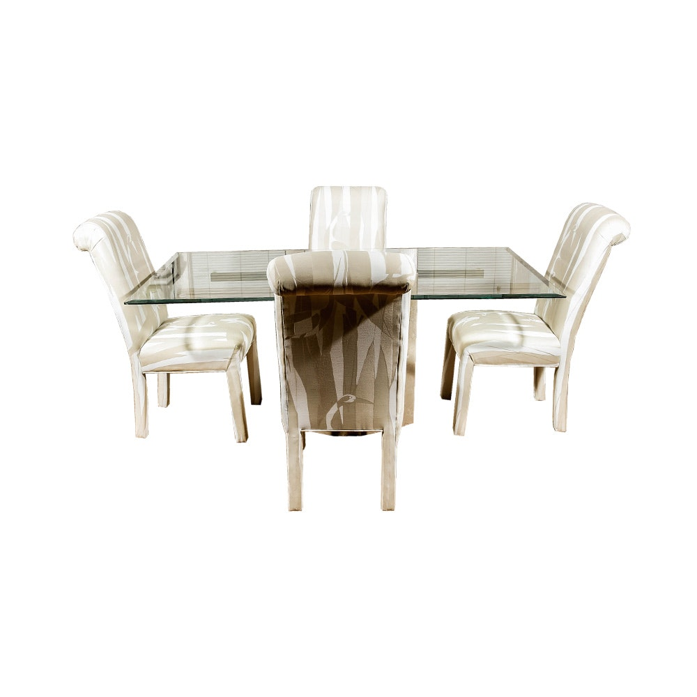 Modern Glass Top Table With Chairs