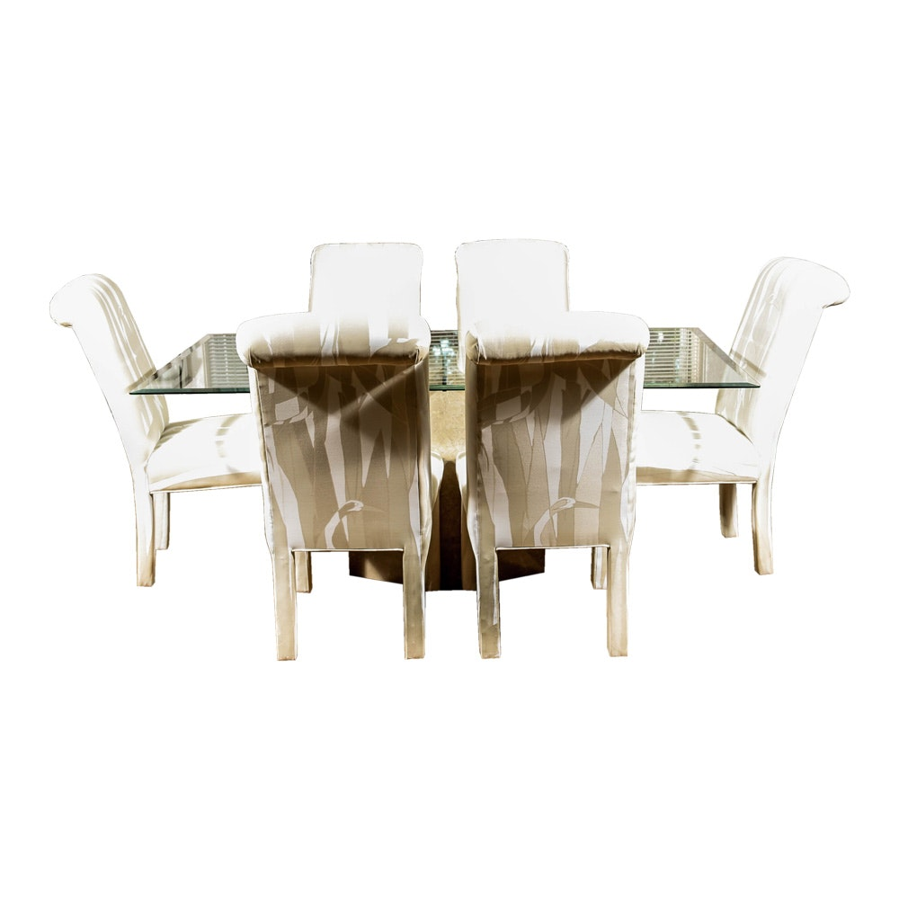 Beveled Glass Topped Dining Table and Six Upholstered Chairs