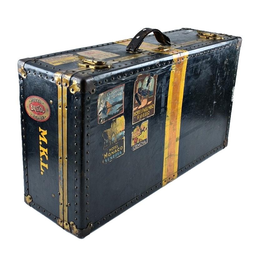 Vintage Steamer Trunk Style Suitcase