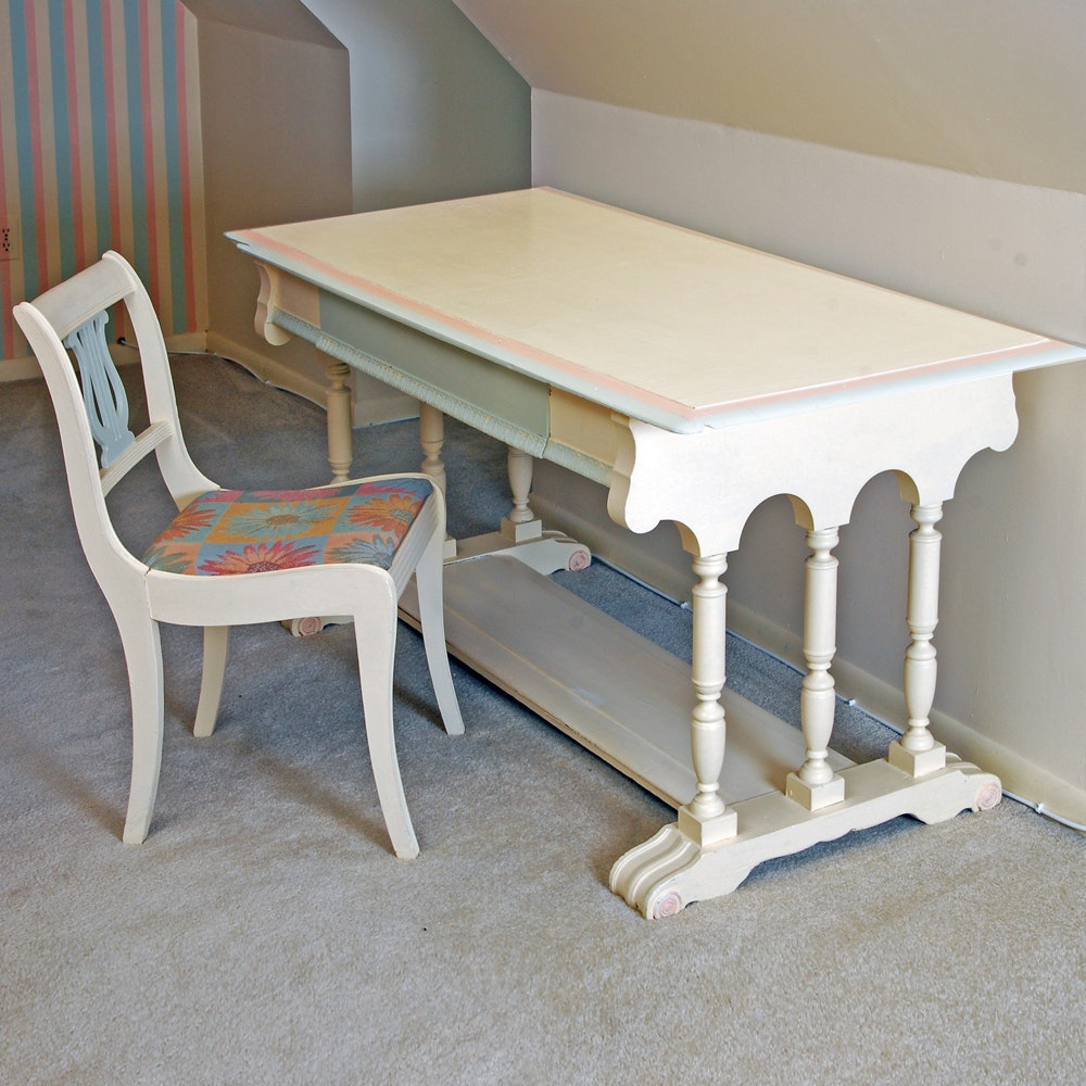 Vintage Desk With Lyre Back Chair