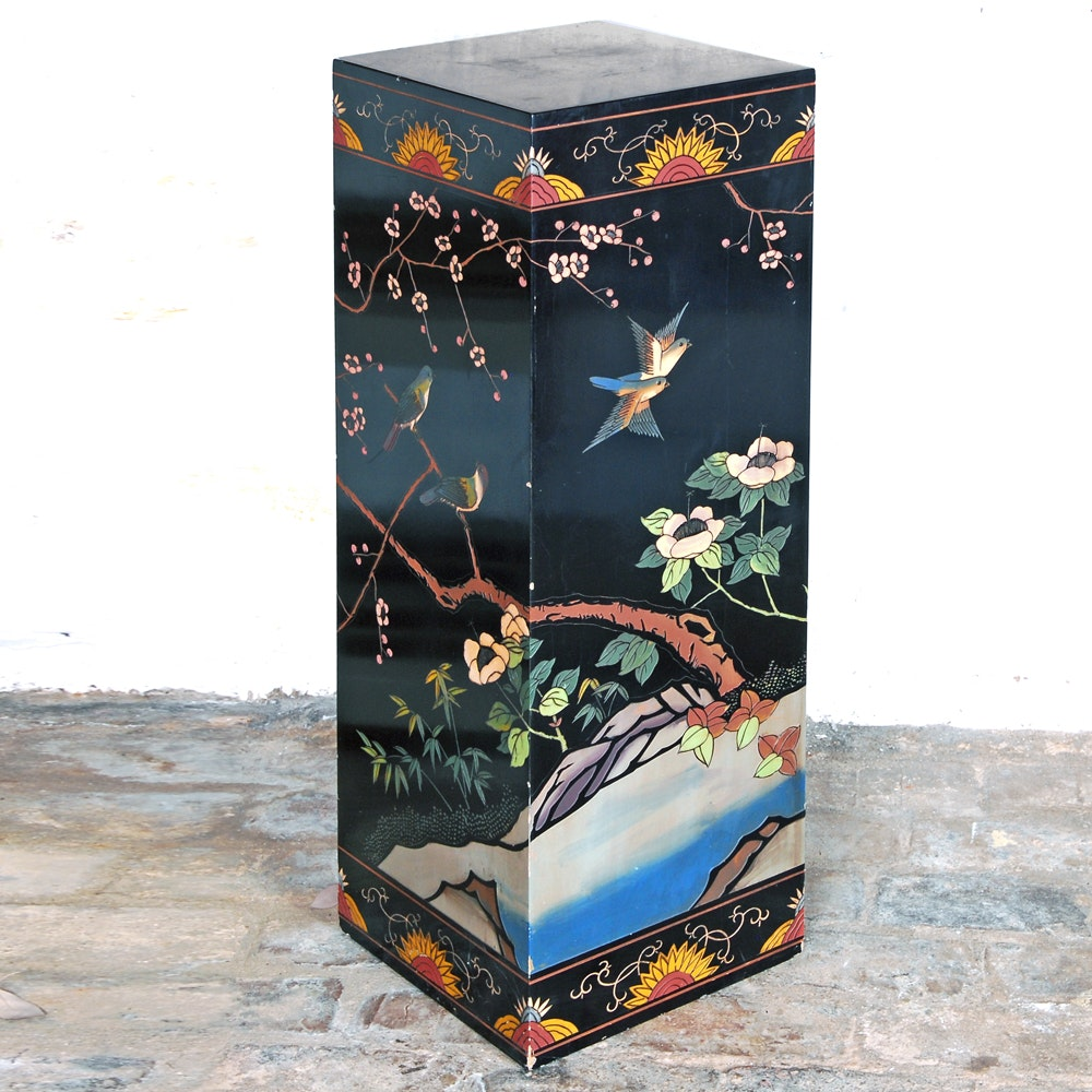 Chinoiserie Black Wooden Floral and Bird Plant Stand