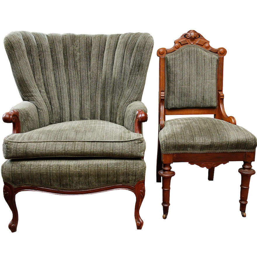 Antique upholstered chair styles - Vintage Curved Back Upholstered Arm Chair And Eastlake Style Accent Chair