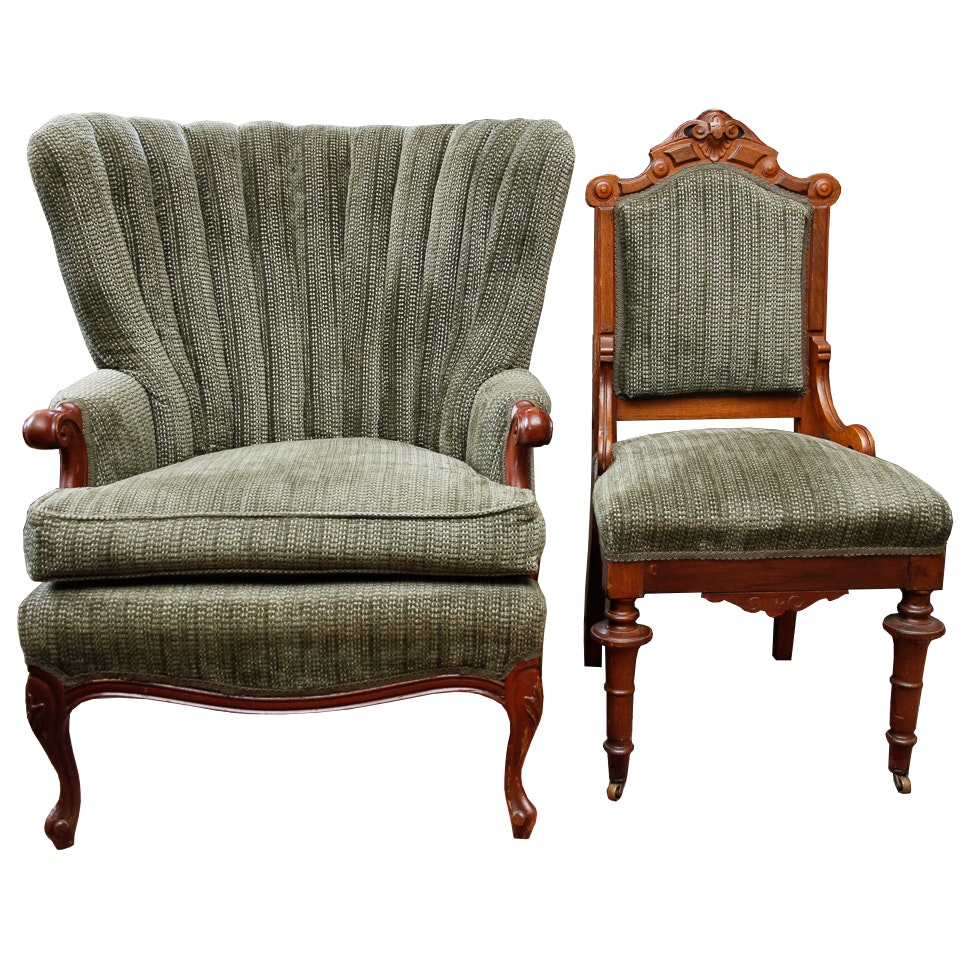 vintage curved back upholstered arm chair and eastlake style accent chair