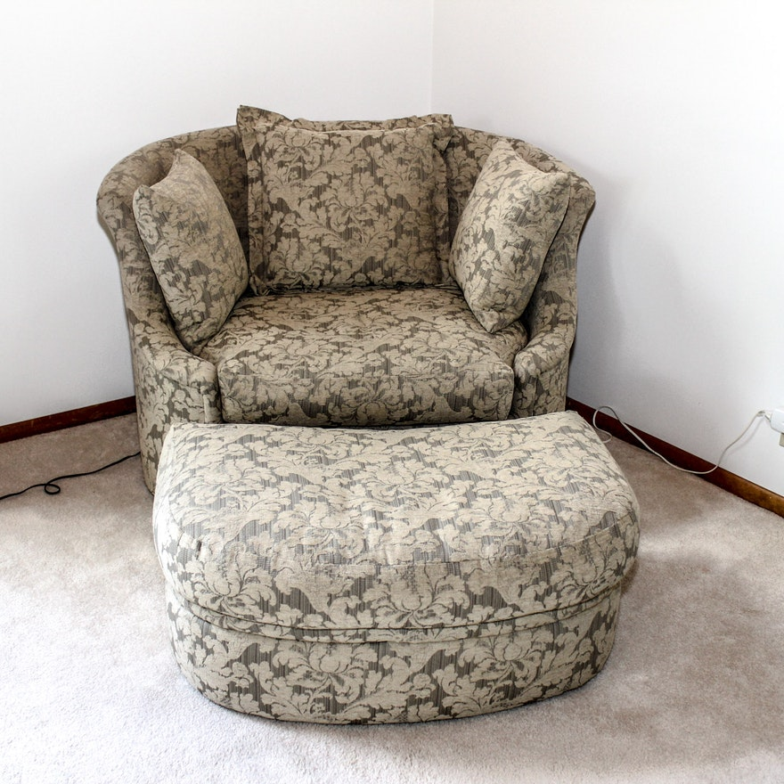 overstuffed large chair ottoman with
