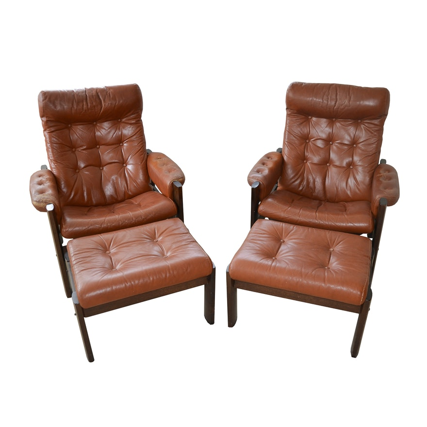 Enjoyable Danish Modern Leather Stressless Amigo Reclining Chair Ottoman Grouping By Ekornes Caraccident5 Cool Chair Designs And Ideas Caraccident5Info