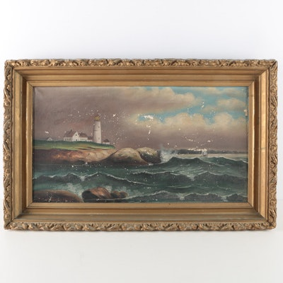 Grace Anderson Early 20th Century Oil on Canvas of Portland Head Lighthouse