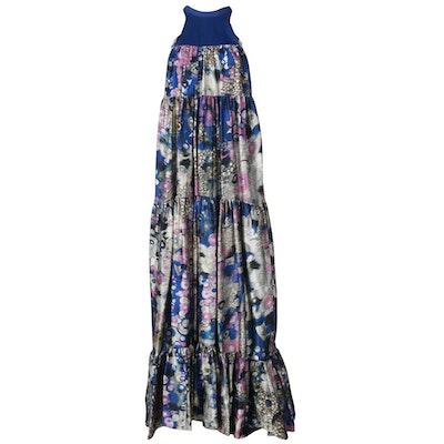 Erdem Blue Floral Silk Gown