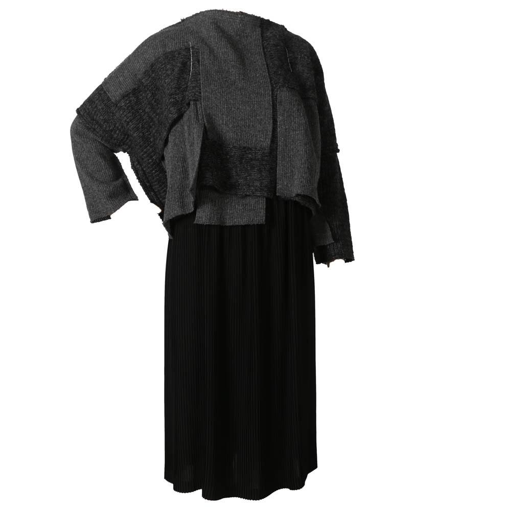 Comme des Garçons Grey Patchwork Wool Dress