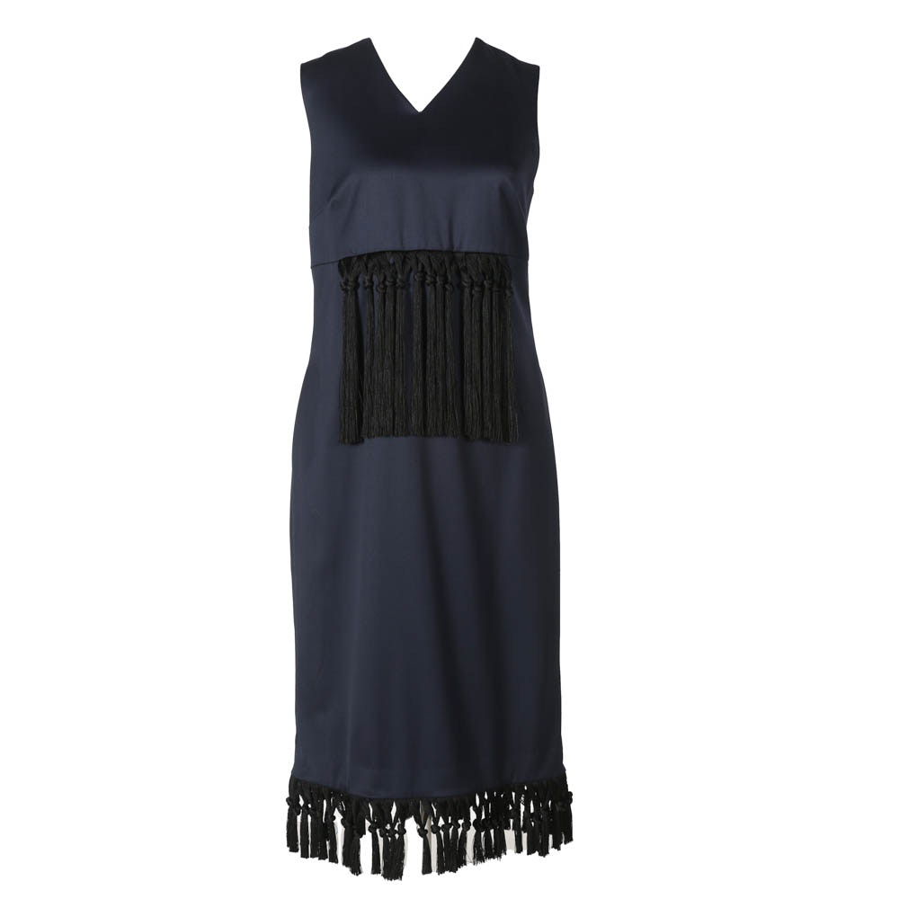 Kaelen Fringe Sheath Dress in Midnight Blue