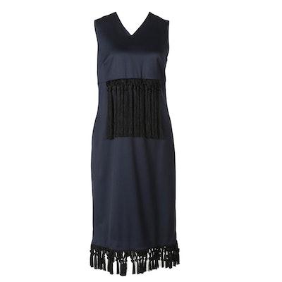 Kaelen Fringe Sheath Dress in Midnight Blue