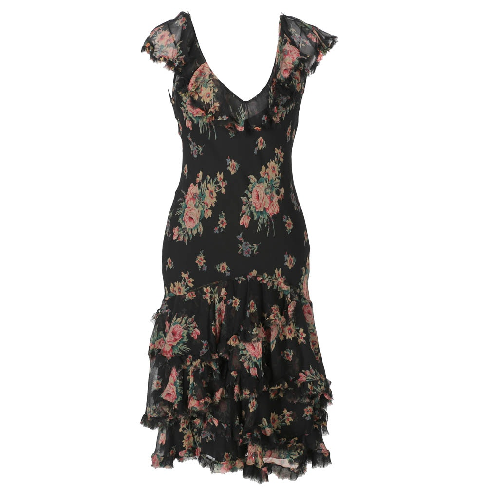 Ralph Lauren Black Floral Silk Dress