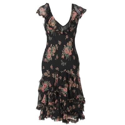 Ralph Lauren Black Floral Silk Dress