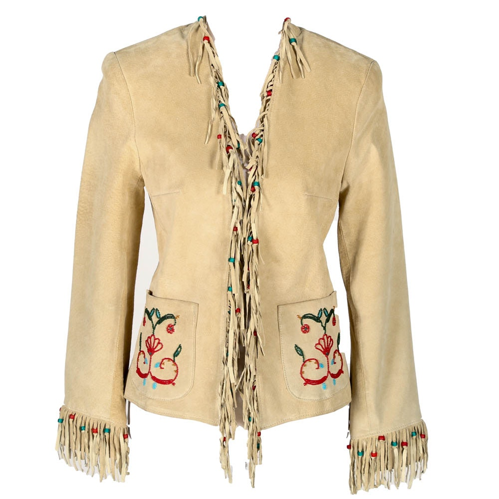 Double D Ranch Fringed, Beaded Suede Jacket