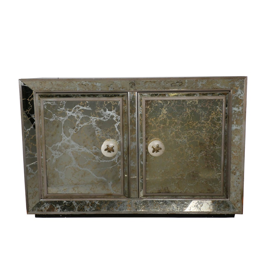 Hollywood Regency Style Smoky Mirrored Credenza