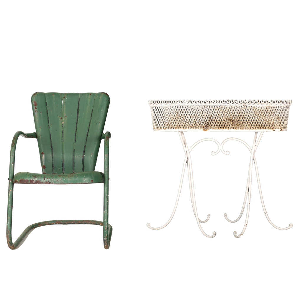 Vintage White Metal Plant Stand and Green Metal Patio Chair