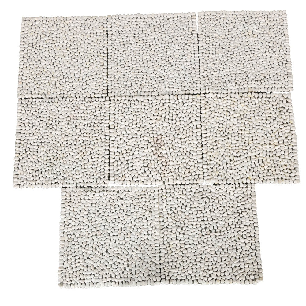 Eight White Stone Outdoor Placemats