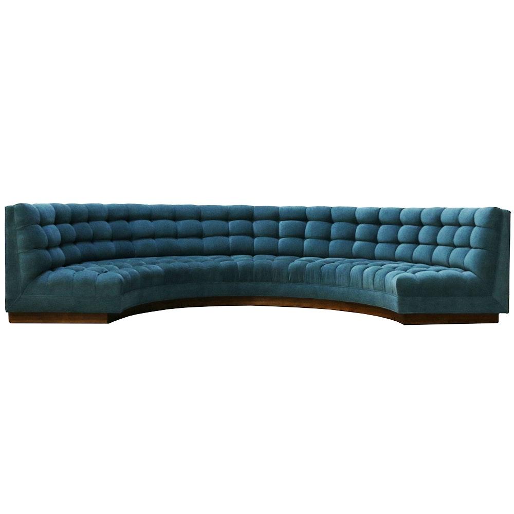 Designer Trip Haenisch Custom Created Semicircular Tufted Sofa