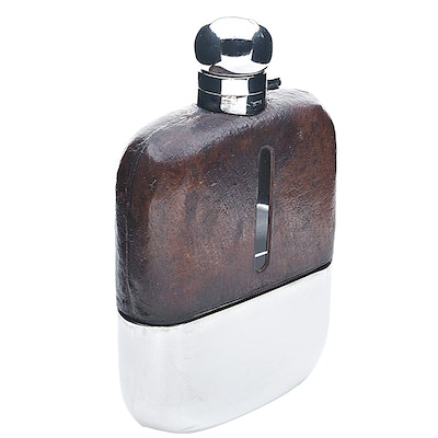 Circa 1930 James Dixon & Sons Silverplate Flask with Leather