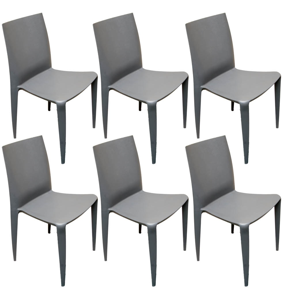 Six Bellini Style Plastic Chairs