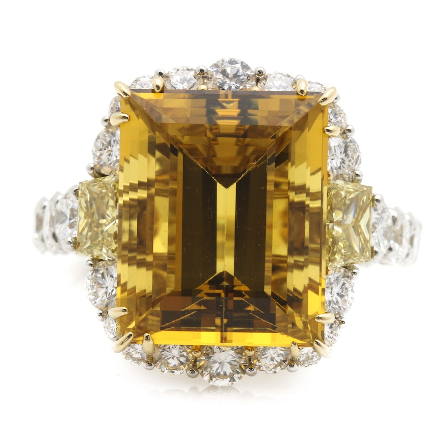 18K Yellow Gold and Platinum 11.40 CT Heliodor and 3.33 CTW Diamond Ring