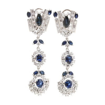 18K White Gold 4.75 CTW Sapphire and 4.40 CTW Diamond Convertible Earrings