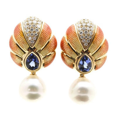Leo De Vroomen 18K Yellow Gold Convertible Enameled Cultured South Sea Pearl, 1.00 CTW Diamond, and 3.64 CTW Tanzanite Earrings