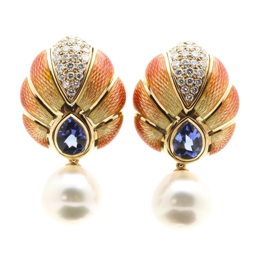 Leo De Vroomen 18K Yellow Gold Convertible Enameled Cultured South Sea Pearl, 1.00 CTW Diamond, and 3.64 CTW Tanzanite Earrings