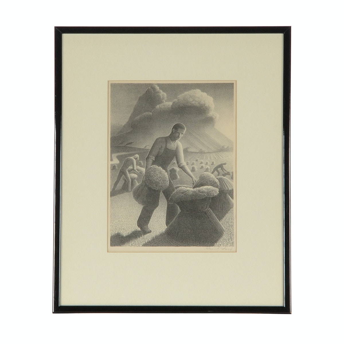 Grant Wood Signed Stone Lithograph Quot Approaching Storm Quot Ebth