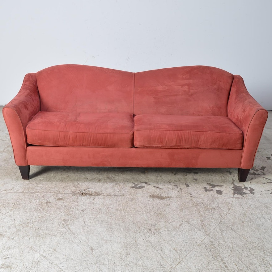 Contemporary Red Microfiber Camelback Sofa By Bauhaus