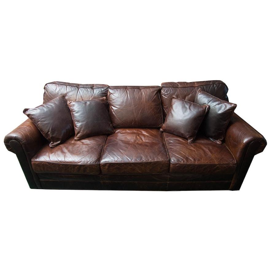 Brown Leather Sleeper Sofa : EBTH