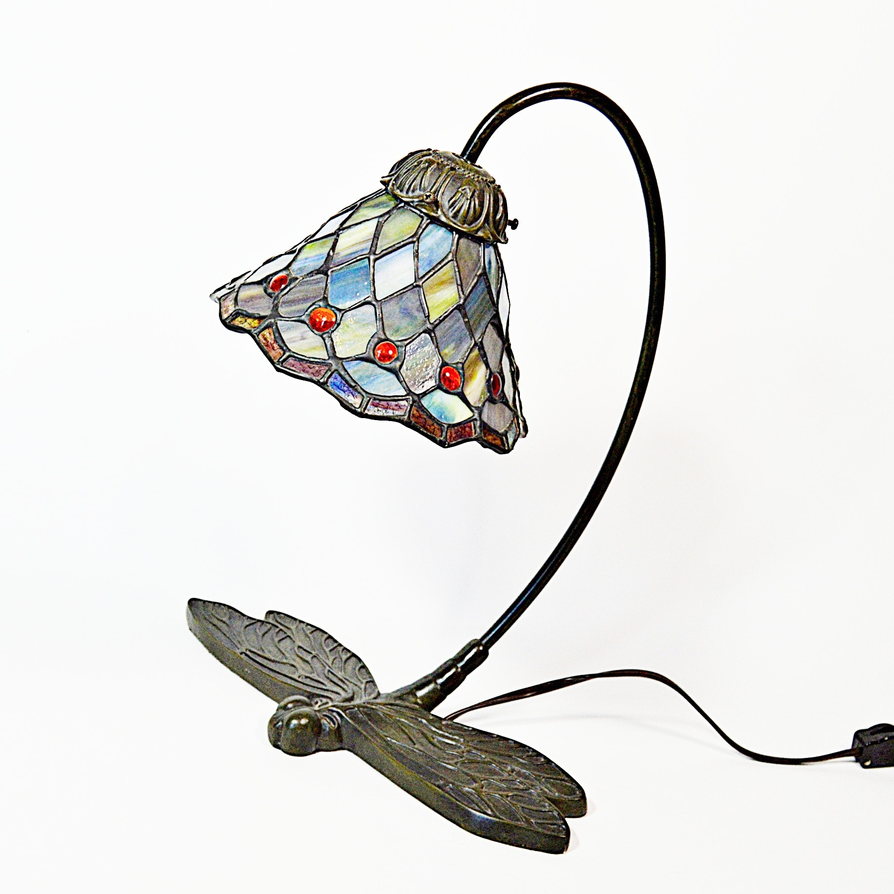 Stained Glass Desk Lamp With Dragonfly Base Ebth