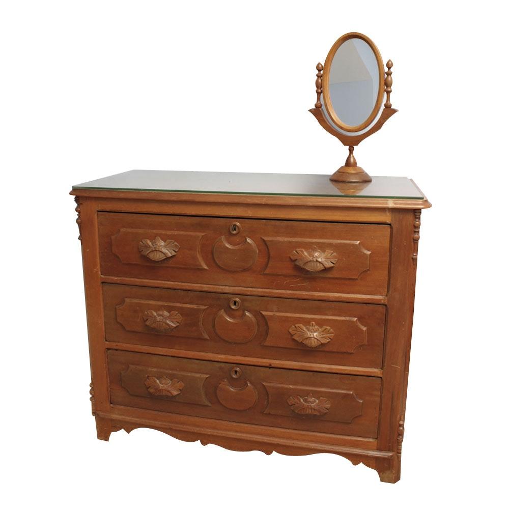 Late 19th Century Victorian Dresser With Mirror