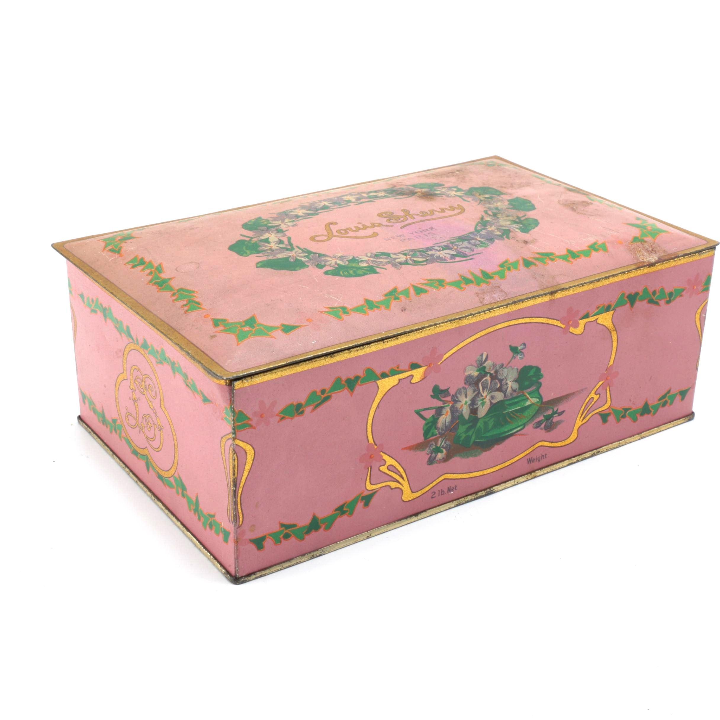 Vintage Louis Sherry Metal Candy Box