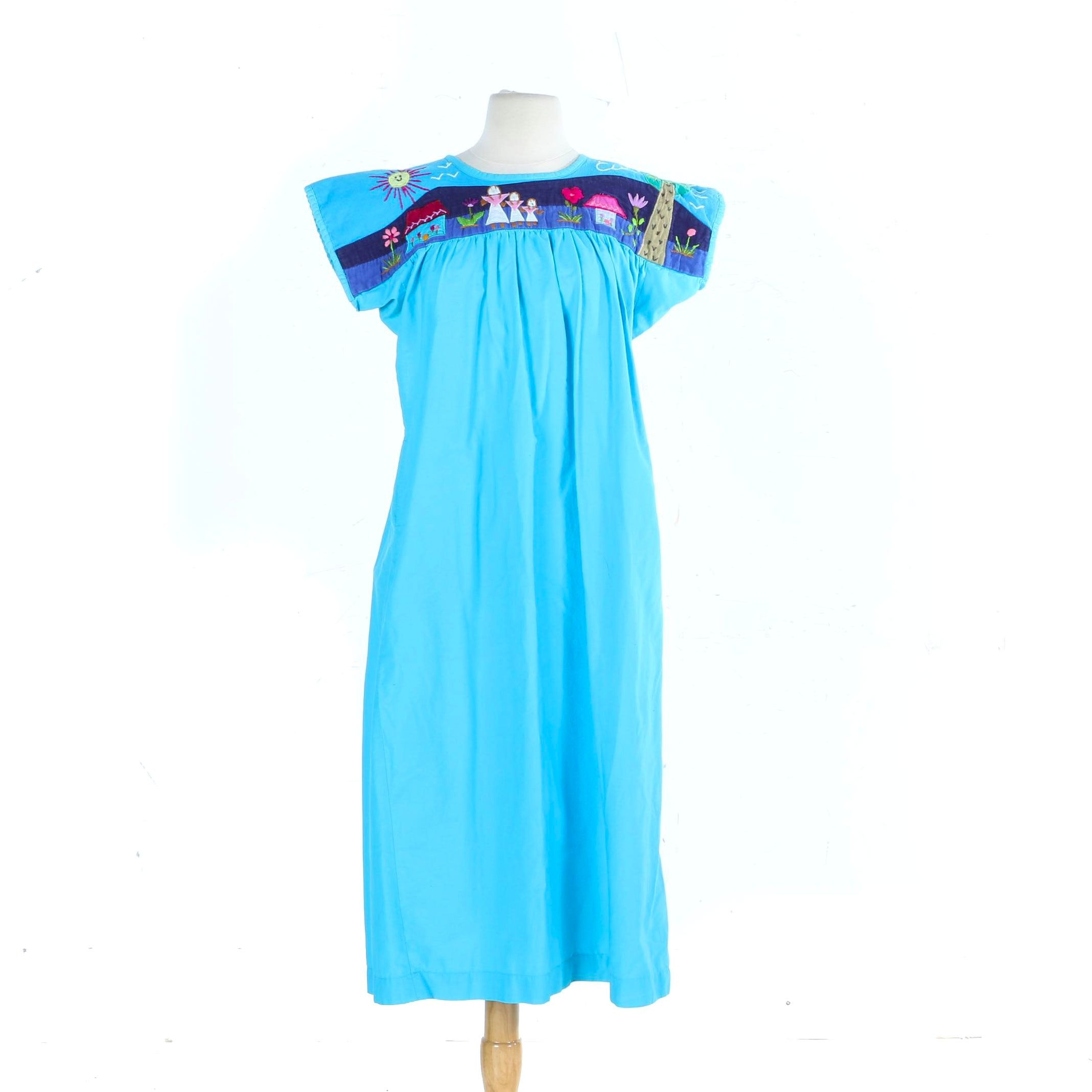 Vintage Mexican Cotton Hand Embroidered Caftan