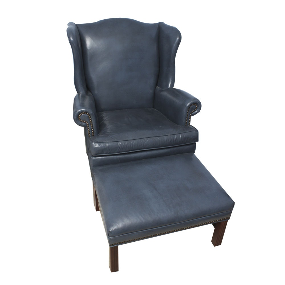 Old Hickory Tannery Blue Leather Armchair And Ottoman ...