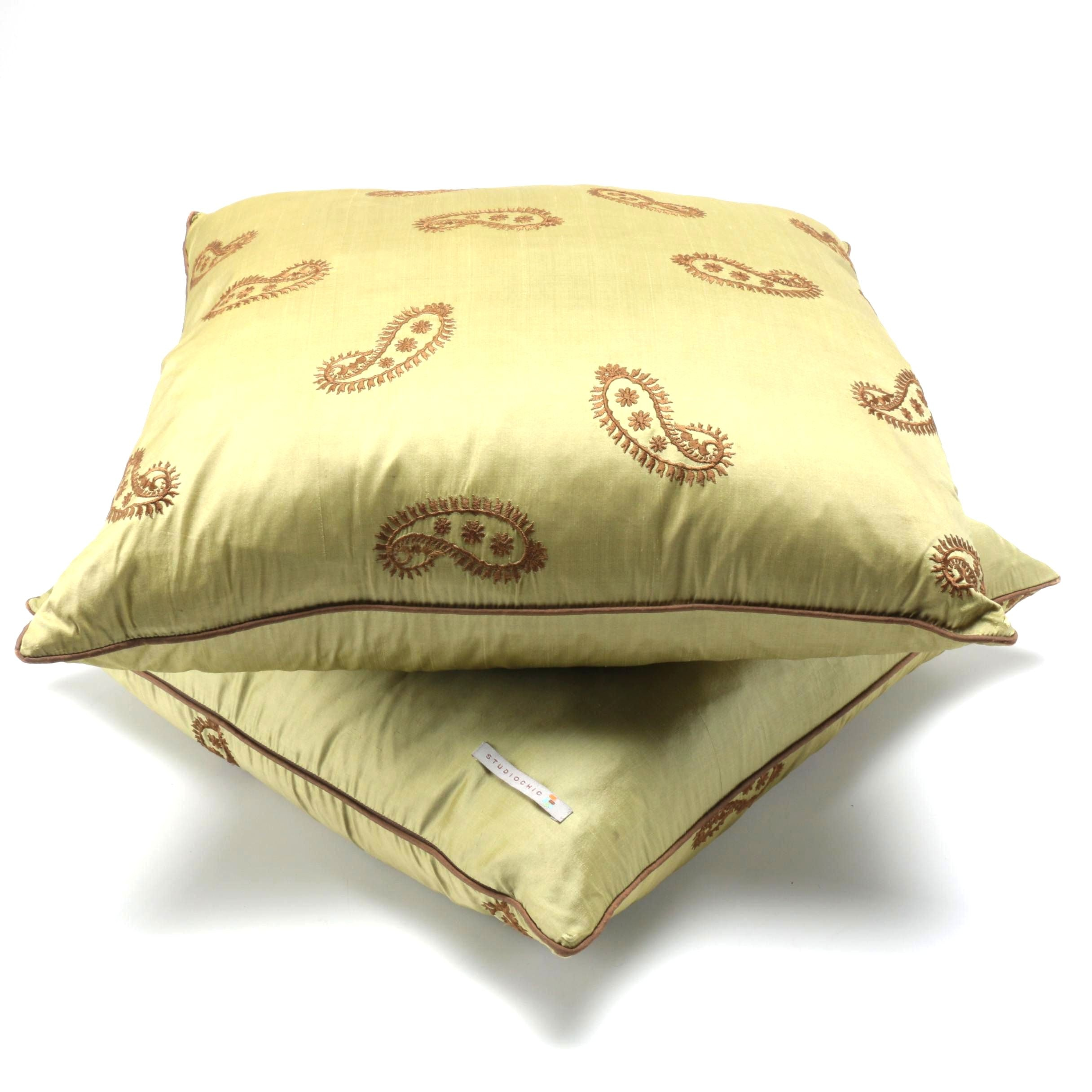 Embroidered Down Filled Silk Pillows by Studio Chic