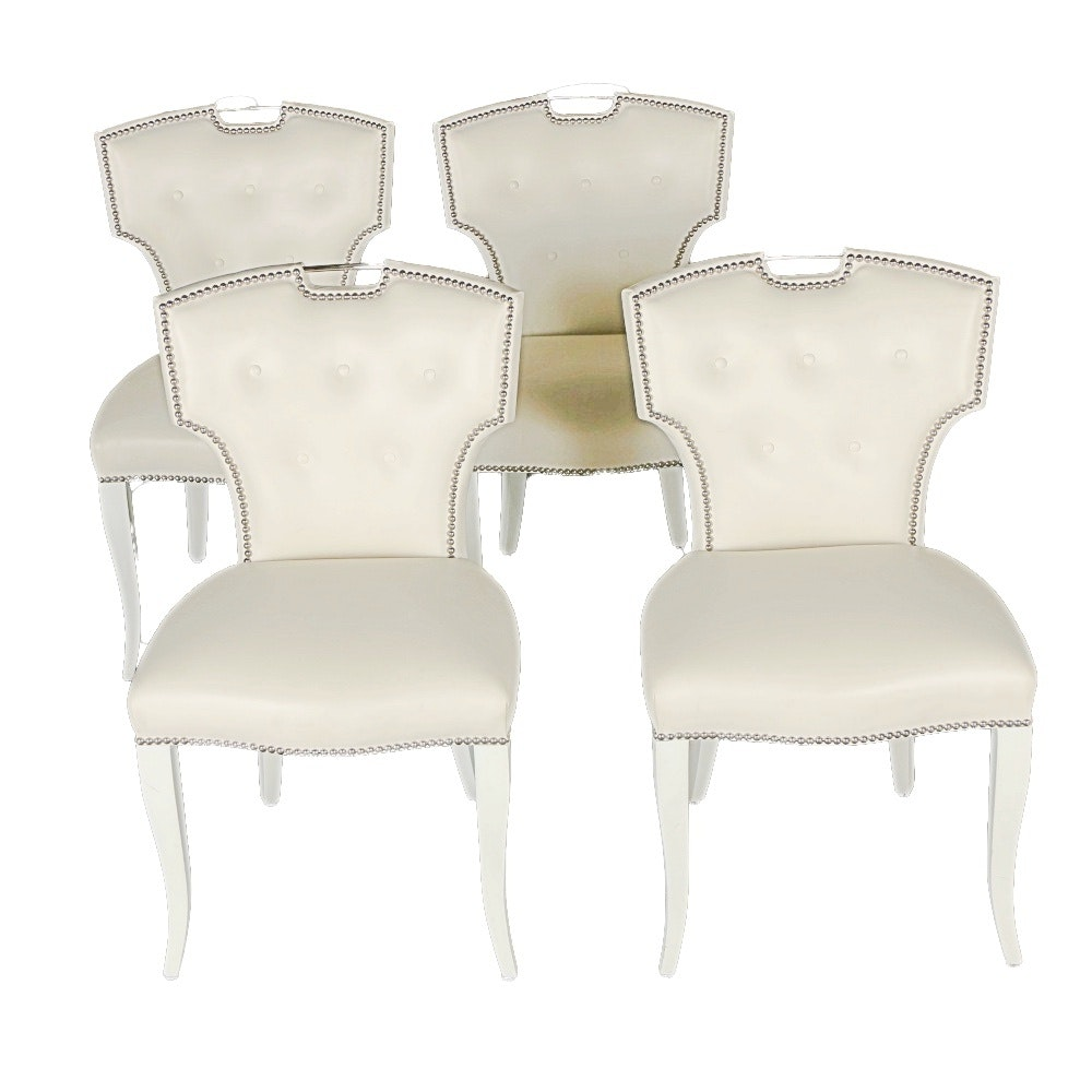 Contemporary Dining Side Chairs in Holly Hunt Leather