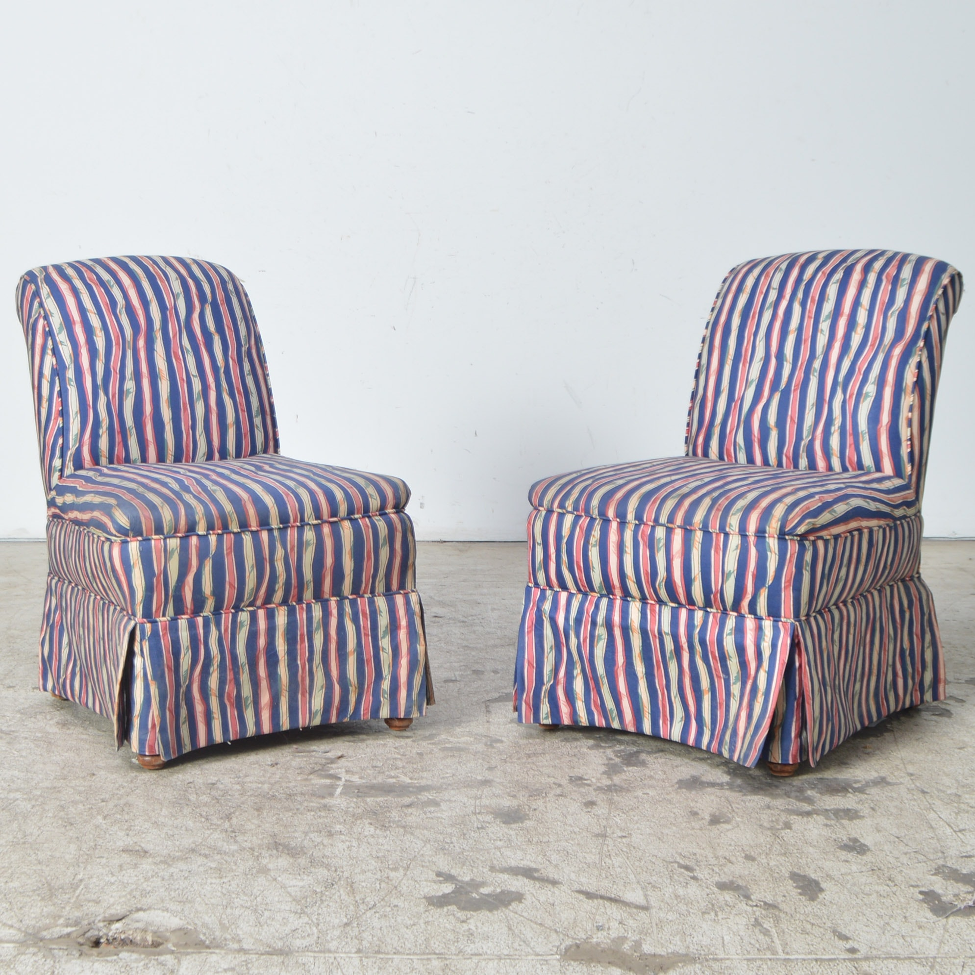 Pink And Navy Striped Slipper Chairs ...