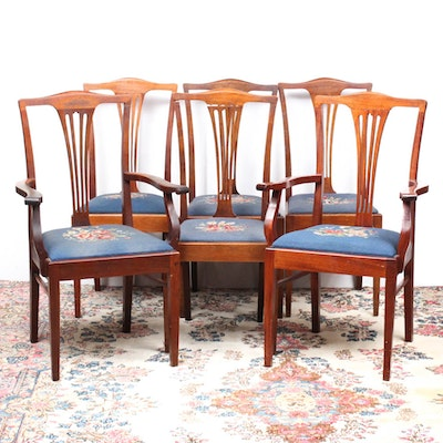 Six Federal Style Needle Point Dining Chairs
