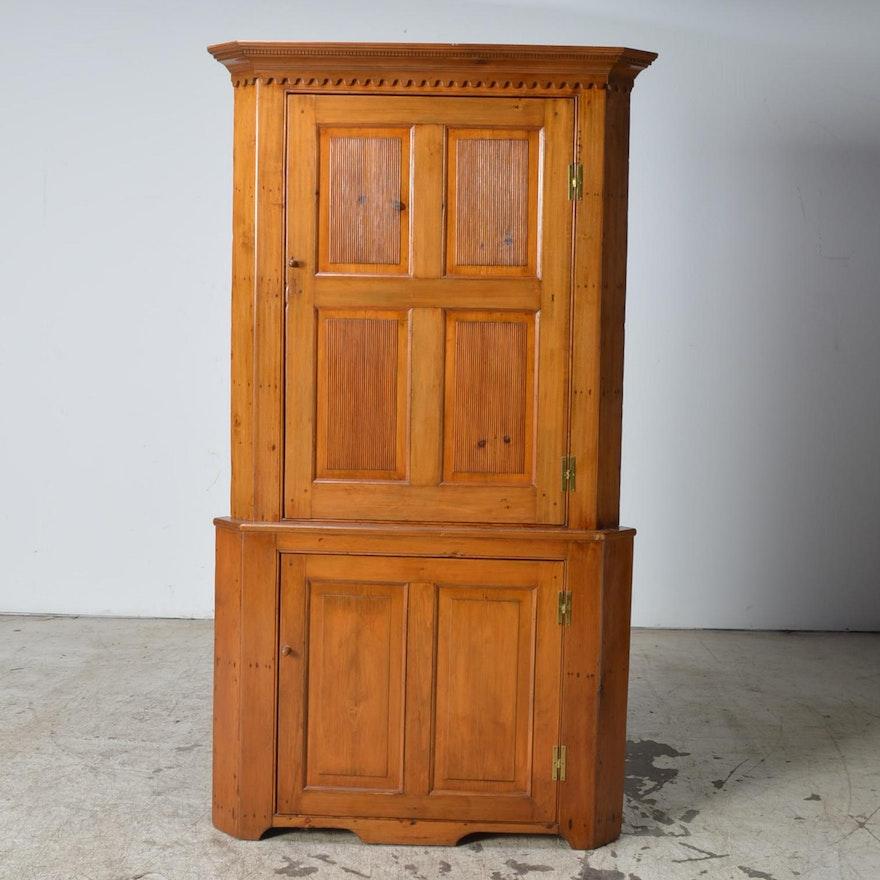 Antique Pine Corner Cabinet ... - Antique Pine Corner Cabinet : EBTH