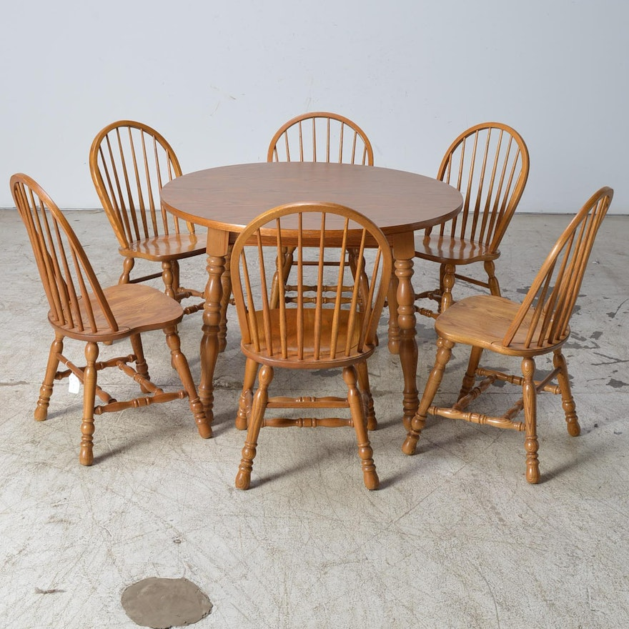 Cochrane Dining Room Furniture: Cochrane Furniture Oak Table And Six Windsor Style Chairs