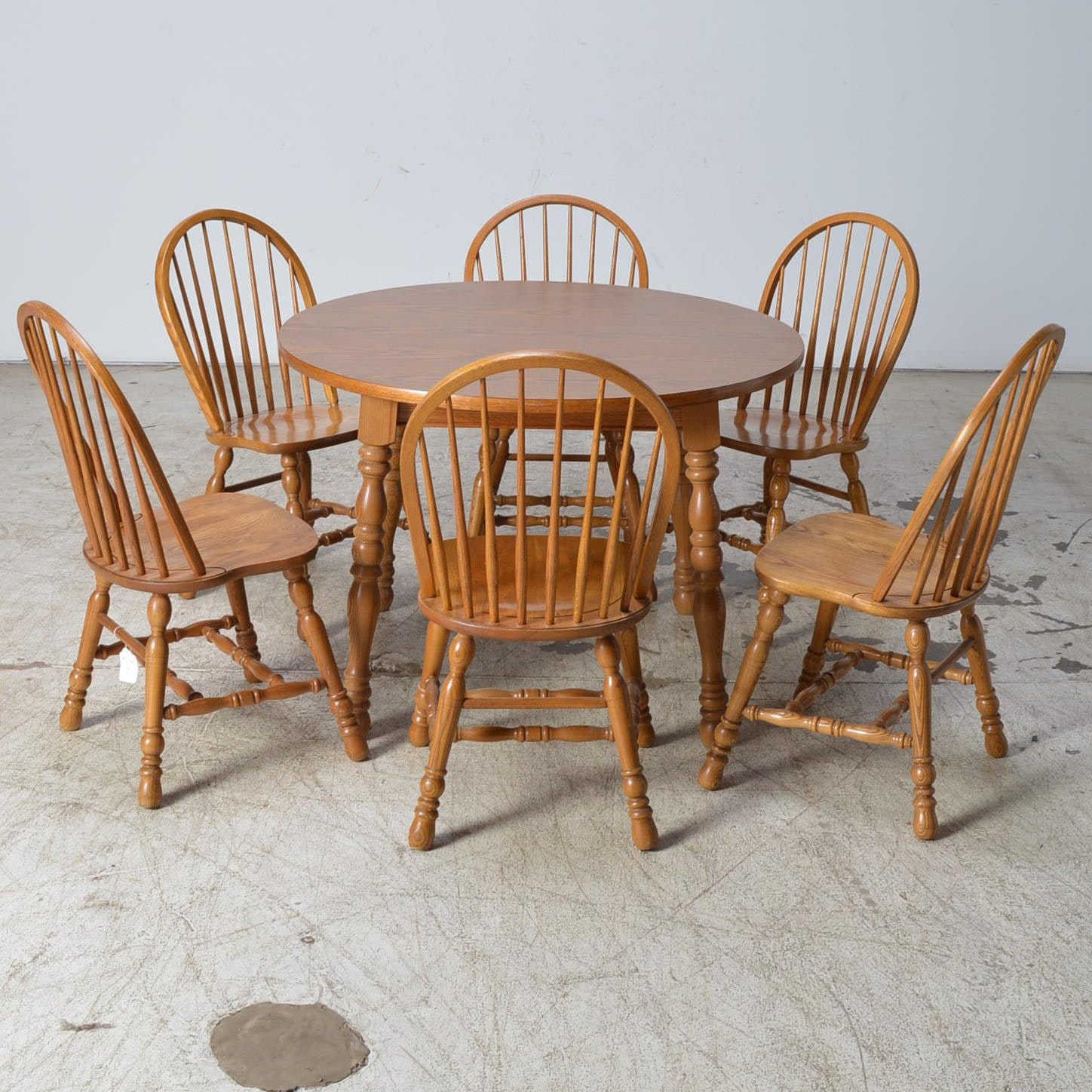 Cochrane Furniture Oak Table And Six Windsor Style Chairs ...