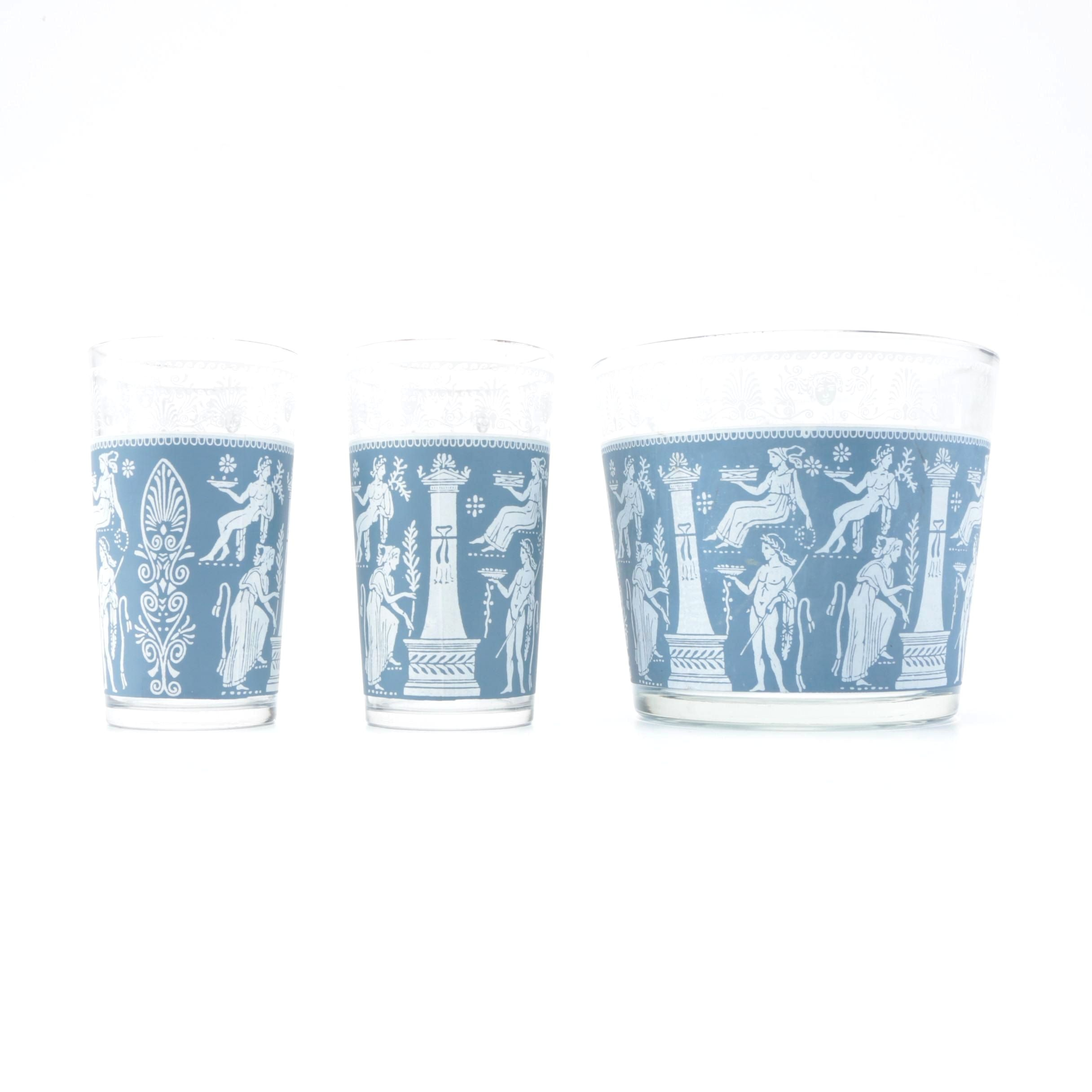 Grecian Style Ice Bucket and Drinking Glasses