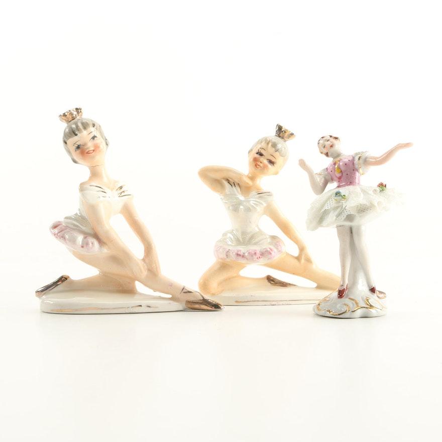 Vintage Porcelain Ballerina Figurines Including Occupied Japan
