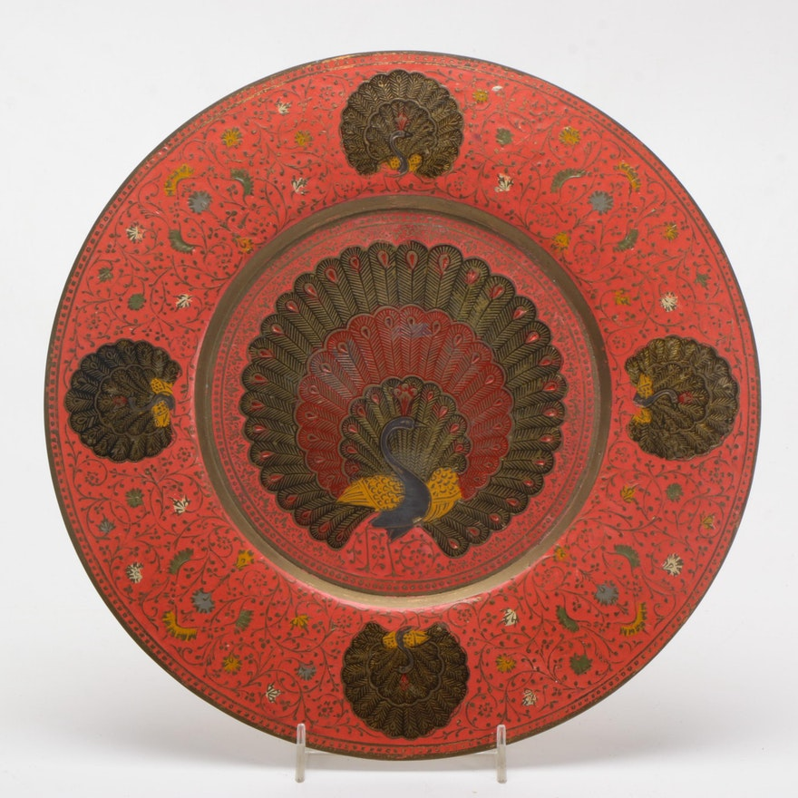 hand painted peacock vintage metal decorative plate ebth. Black Bedroom Furniture Sets. Home Design Ideas