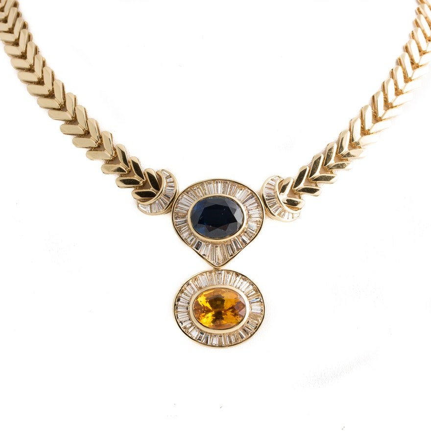 18K and 14K Yellow Gold 6.03 CTW Diamond, 7.26 CT Blue Sapphire, and 7.90 CT Fancy Yellow Sapphire Necklace